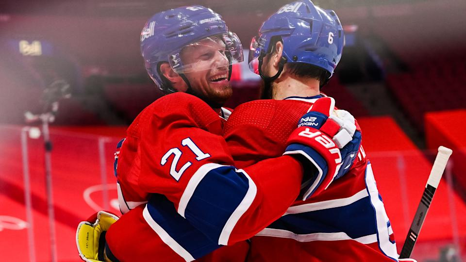 MONTREAL, QC - APRIL 05: Montreal Canadiens center Eric Staal (21) celebrates his goal with Montreal Canadiens defenceman Shea Weber (6) during the Edmonton Oilers versus the Montreal Canadiens game on April 5, 2021, at Bell Centre in Montreal, QC (Photo by David Kirouac/Icon Sportswire via Getty Images)