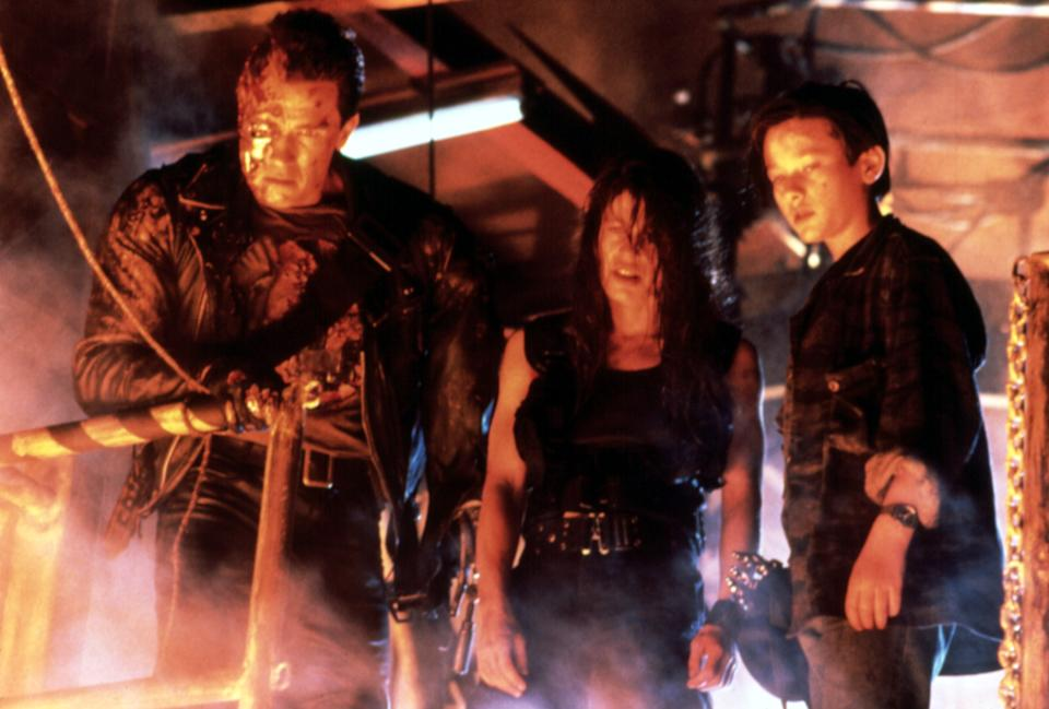 Arnold Schwarzenegger, Linda Hamilton and Edward Furlong in 'Terminator 2: Judgement Day,' which celebrates its 30th anniversary this year. (Photo: Courtesy Everett Collection)