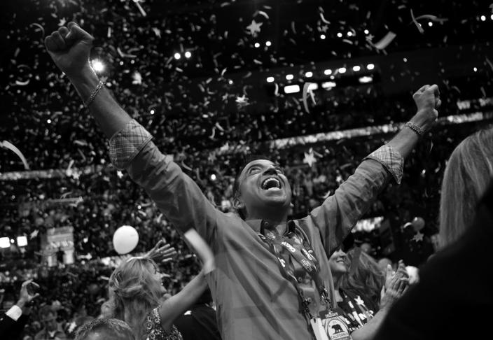 <p>California Delegate Eddie Inamdar celebrates at the Republican National Convention Thursday, July 21, 2016, in Cleveland, OH. (Photo: Khue Bui for Yahoo News)<br></p>