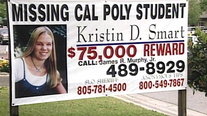 Mary Lassiter says the earring she found in the driveway matched the necklace Kristin Smart is seen wearing on this billboard. / Credit: CBS News