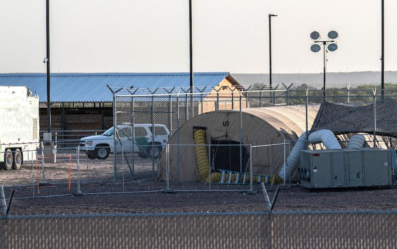 A temporary facility set up to hold immigrants at a US Border Patrol station in Clint, Texas (AFP Photo/Paul Ratje)