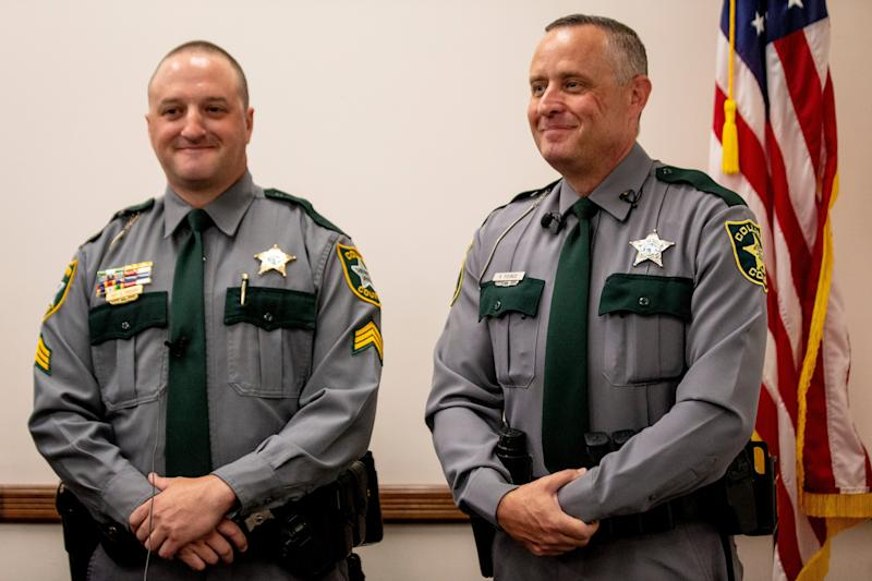 Sgt. David Drucks, left, and Deputy Robert Pounds, right, speak during a press conference at the Leila B. Canant Professional Development Center in Naples on Wednesday, October 2, 2019. Deputy Pounds pulled over a speeding car early Tuesday morning, and found that a passenger in the car was in labor. Deputy Pounds called for backup and EMS, and helped to deliver a baby girl.