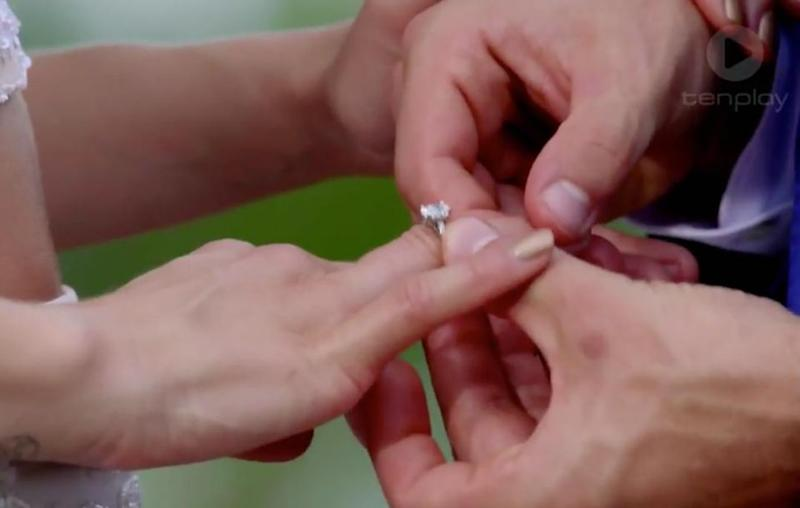Matty orginally placed the ring on Laura's right hand ring finger. Source: Channel 10