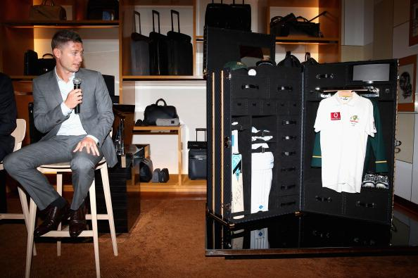 SYDNEY, AUSTRALIA - OCTOBER 16:  Michael Clarke, Captain of the Australian Cricket Team, speaks as he unveils a Louis Vuitton cricket trunk on October 16, 2012 in Sydney, Australia. Christie's auction house will manage a private sale of the trunk with all proceeds to benefit the Sydney Children's Hospital Foundation.  (Photo by Ryan Pierse/Getty Images)