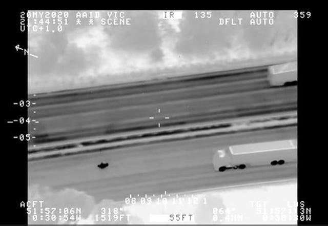 Screengrab from police helicopter footage issued by the Metropolitan Police of Marian Vasilica Dragoi during a police chase on May 20 2020