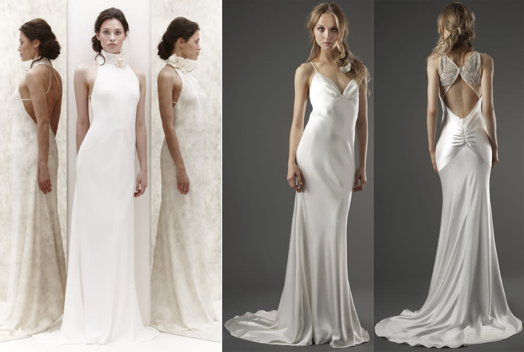 """For brides like Jennifer with amazing arms, a sleeveless dress is the best option,"" says Anne Chertoff, wedding editor and author of ""<a target=""_blank"" href=""http://www.russellandhazel.com/content/wedding-organizer"">The Wedding Organizer</a>."" ""This Jenny Packham gown (left) with halter neckline features a chic floral detail at the neck and a very low-cut open back – yet another way to show off the work she's been doing with her trainer. The lightweight fabric is easy to move around the room in, and perfect for an outdoor or warm-weather location. And I <em>love</em> this Elizabeth Fillmore gown. The clingy fabric is relaxed and not fussy, very much that California, surfer-girl vibe Jennifer usually gives off. There is no detail in the front, so all you see is her great figure, and the low, but not too-low, neckline allows her to highlight her décolletage. The back of this gown, which most guests will see as she stands at the altar and spins on the dance floor with her groom, is an amazing silver Art Deco design that resembles a butterfly. And the open back is yet another way to show how fab she looks!""<p><em> Follow Anne on Twitter <a target=""_blank"" href=""https://twitter.com/AnneChertoff "">@AnneChertoff</a>.</em> </p>"