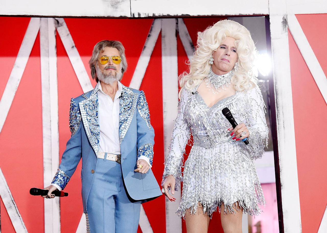<p><strong>SAVANNAH GUTHRIE</strong> and <strong>MATT LAUER</strong>, as Kenny Rogers and Dolly Parton, at <em>The Today Show</em>'s annual Full Relinquishment of Dignity. <span></span></p>
