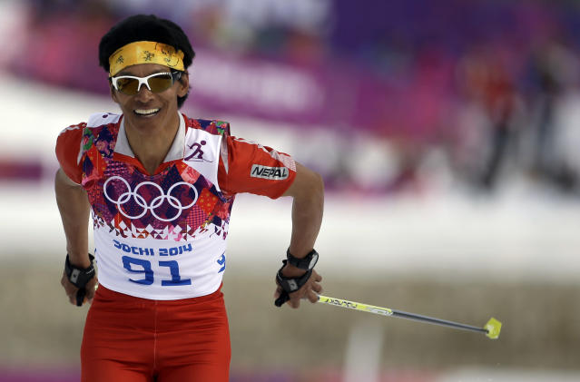Nepal's Dachhiri Sherpa competes in the men's 15K classical-style cross-country race at the 2014 Winter Olympics, Friday, Feb. 14, 2014, in Krasnaya Polyana, Russia. (AP Photo/Gregorio Borgia)