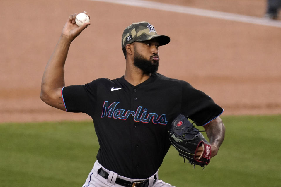 Miami Marlins starting pitcher Sandy Alcantara throws to the plate during the first inning of a baseball game against the Los Angeles Dodgers Friday, May 14, 2021, in Los Angeles. (AP Photo/Mark J. Terrill)