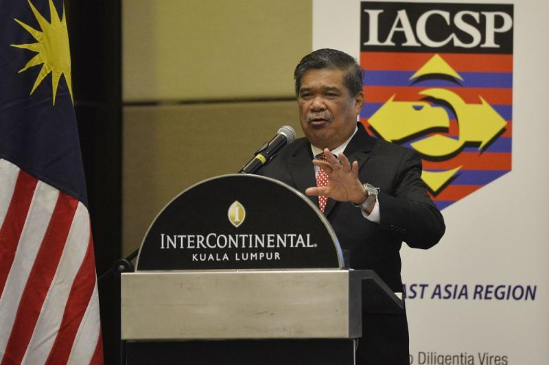 Defence Minister Mohamad Sabu speaks during the launch of the International Association of Counterterrorism and Security Professionals counter-terrorism symposium in Kuala Lumpur August 27, 2018. — Picture by Azinuddin Ghazali