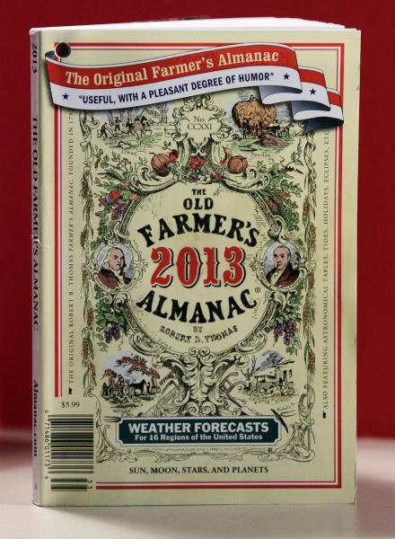 This Tuesday, Sept. 11, 2012, photo shows the cover of the 2013 edition of the Old Farmer's Almanac in Boston. Many farmers say the booklets, known for their catchy weather predictions over 221 years of publication, are no longer a go-to source in the Information Age. (AP Photo/Bill Sikes)