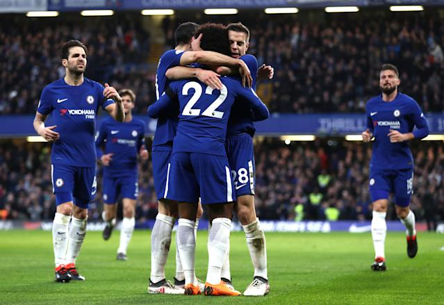 Chelsea players celebrate Willian's goal against Crystal Palace on Saturday. (Getty)