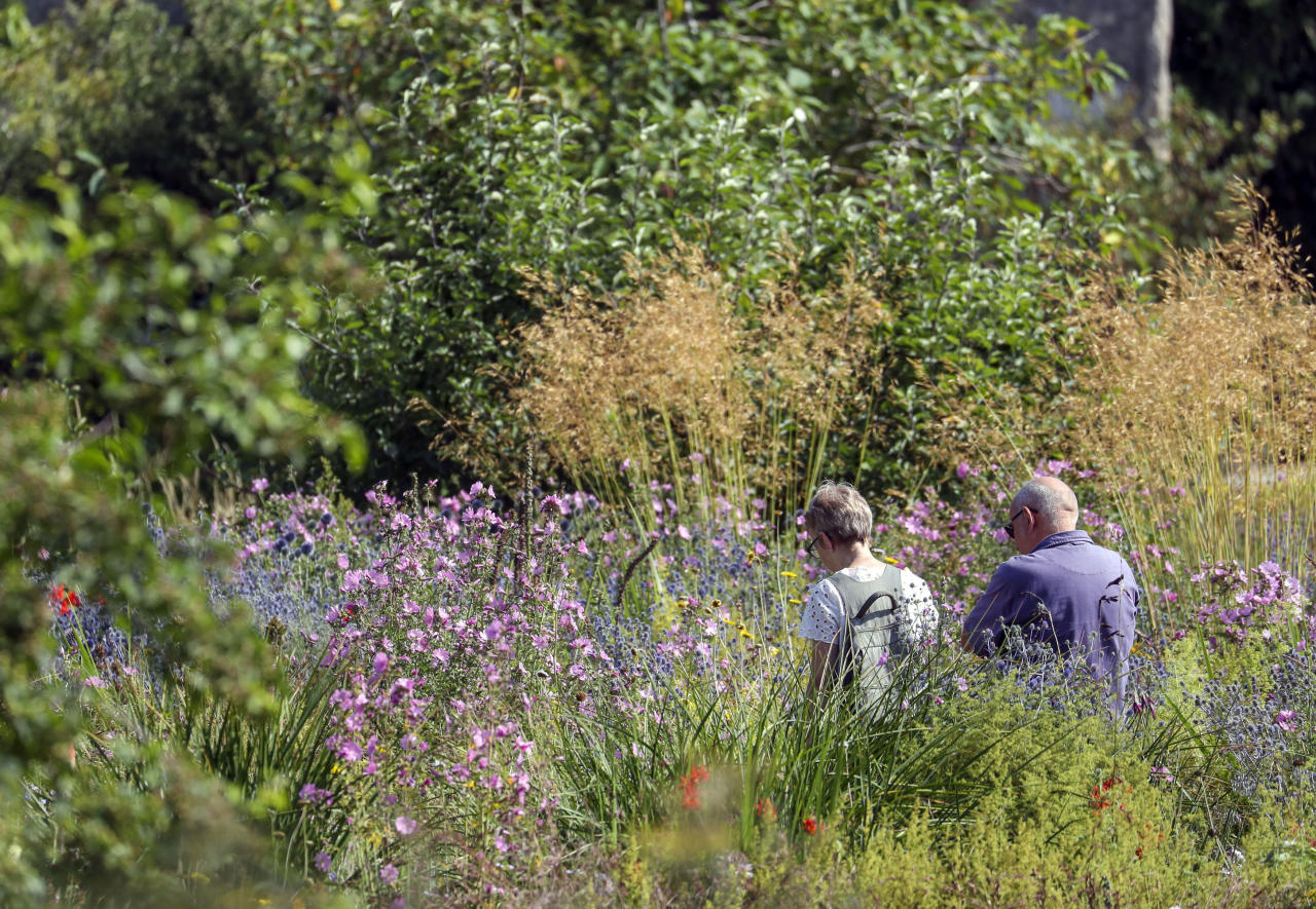 People enjoyed the high temperatures at the Botanic Gardens in Oxford (Picture: Steve Parsons/PA Wire)