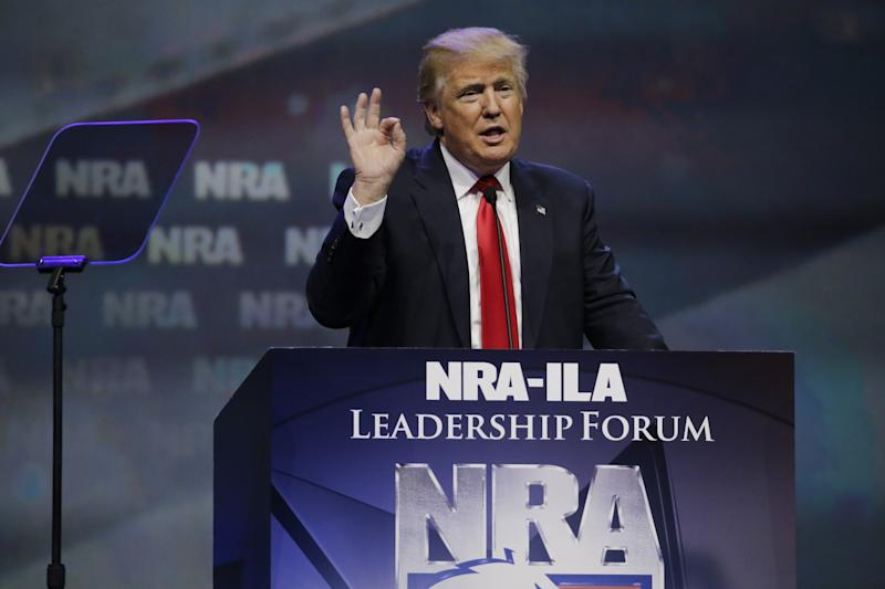 Republican presidential candidate Donald Trump speaks at the National Rifle Association convention Friday, May 20, 2016, in Louisville, Ky. (Photo: Mark Humphrey/AP)