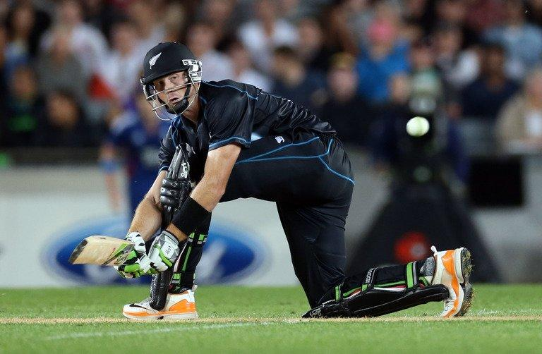 New Zealand's Martin Guptill bats during the Twenty20 international against England, in Auckland, on February 9, 2013