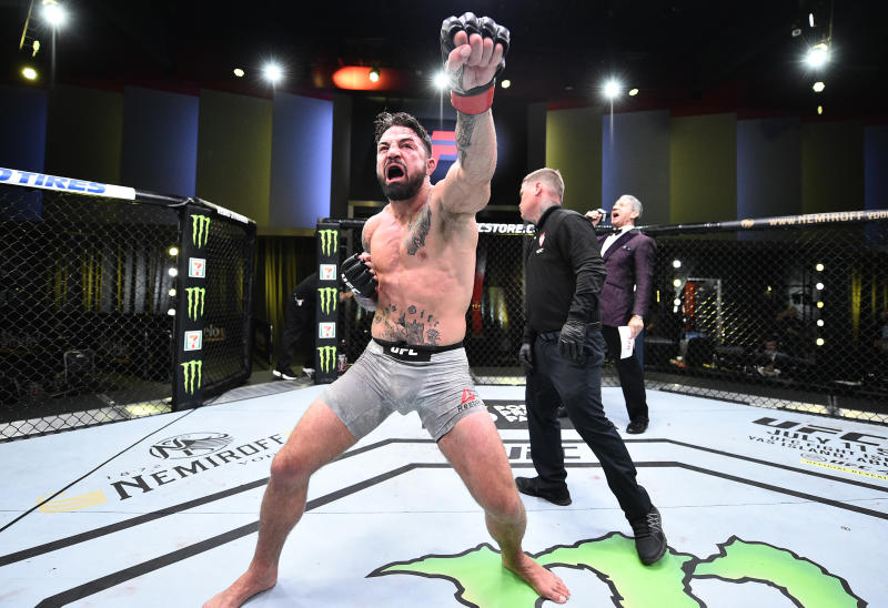 LAS VEGAS, NEVADA - JUNE 27: Mike Perry celebrates after his victory over Mickey Gall in their welterweight fight during the UFC Fight Night event at UFC APEX on June 27, 2020 in Las Vegas, Nevada. (Photo by Chris Unger/Zuffa LLC)