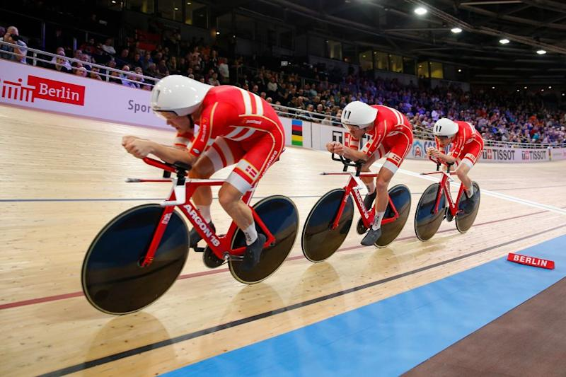 Denmarks team competes in the mens Team Pursuit Finals at the UCI track cycling World Championship at the velodrome in Berlin on February 27 2020 Photo by Odd ANDERSEN AFP Photo by ODD ANDERSENAFP via Getty Images