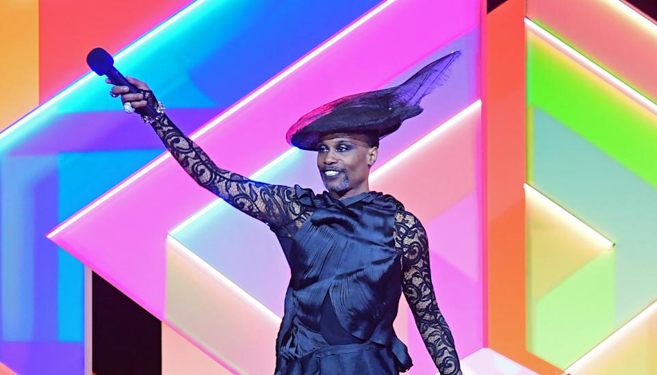 Billy Porter presents the award for International Group during the Brit Awards 2021 at the O2 Arena, London. Picture date: Tuesday May 11, 2021. (Photo by Ian West/PA Images via Getty Images)