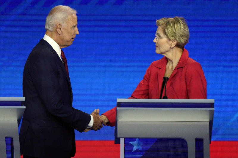Democratic presidential candidates former Vice President Joe Biden, left, and Sen. Elizabeth Warren, D-Mass., shake hands Thursday, Sept. 12, 2019, after a Democratic presidential primary debate hosted by ABC at Texas Southern University in Houston. (AP Photo/David J. Phillip)