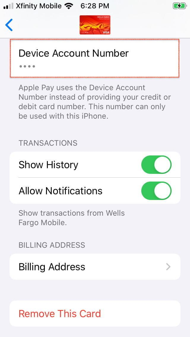 how to use apple pay device account number