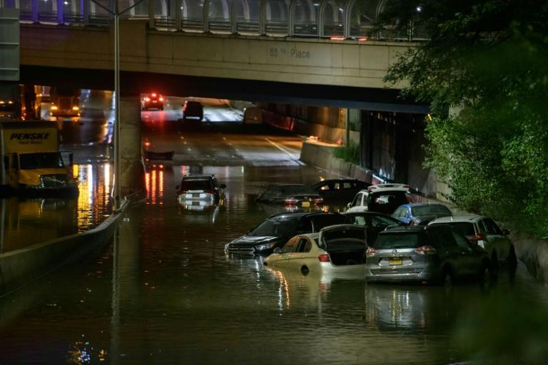 Record rainfall brought chaos to New York City roads in the early hours of September 2, 2021 (AFP/Ed JONES)