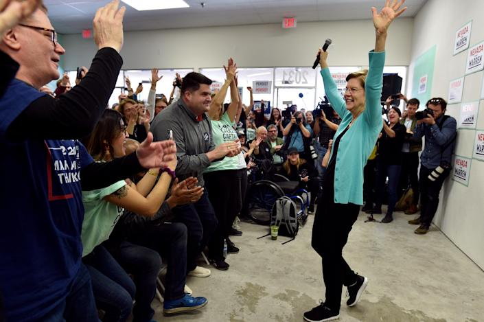 NORTH LAS VEGAS, NEVADA - FEBRUARY 20: Democratic presidential candidate Sen. Elizabeth Warren (D-MA) speaks at a canvass kickoff event at one of her campaign offices on February 20, 2020 in North Las Vegas, Nevada. Nevada Democrats will hold their presidential caucuses on February 22, the third nominating contest in the presidential primary season. (Photo by David Becker/Getty Images)