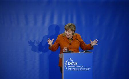 German Chancellor Merkel speaks at the opening of a new research center for dementia diseases DZNE at the university hospital in Bonn