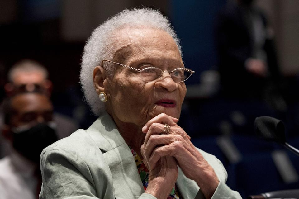 """Viola Fletcher testified before the Civil Rights and Civil Liberties Subcommittee hearing called """"Continuing Injustice: The Centennial of the Tulsa-Greenwood Race Massacre"""" on Wednesday. (Photo: JIM WATSON via Getty Images)"""