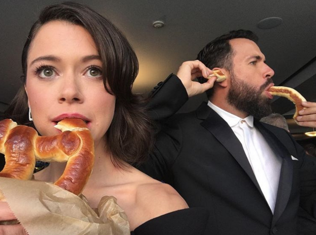 "<p>""Emmys Round 2,"" the <em>Orphan Black</em> star captioned this pic with her boyfriend, actor Tom Cullen, carbing up for the big night. (Photo: <a href=""https://www.instagram.com/p/BZKfbvOAcy_/?hl=en&taken-by=tatianamaslany"" rel=""nofollow noopener"" target=""_blank"" data-ylk=""slk:Tatiana Maslany via Instagram"" class=""link rapid-noclick-resp"">Tatiana Maslany via Instagram</a>) </p>"