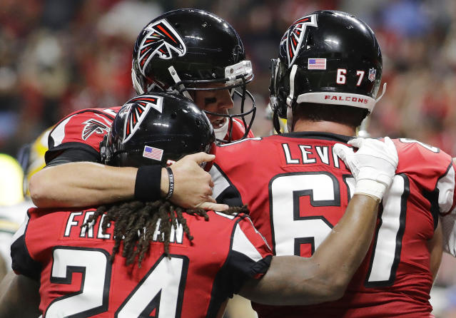 The Atlanta Falcons celebrated a big win Sunday night. (AP)