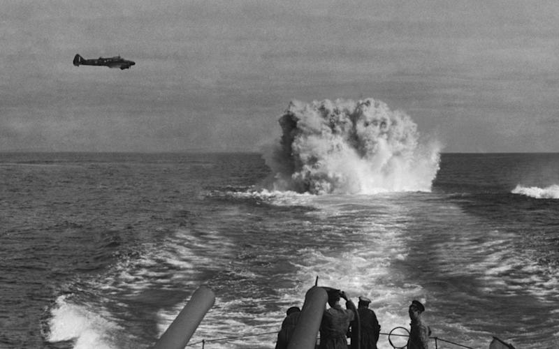Allied ships hunting down a German U-boat in 1940 - Getty