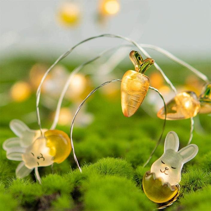 <p>The <span>KAiSnova Easter Rabbit Bunny Carrot String Lights</span> ($14) are battery operated and 10 feet long. This will add the perfect whimsical touch to your decor.</p>