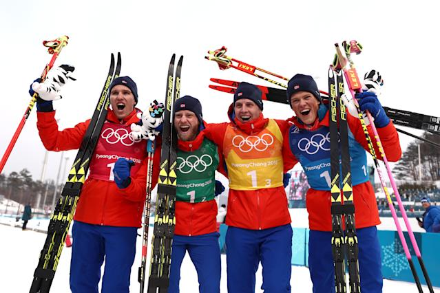 <p>Gold medalists Team Norway celebrate during the victory ceremony after the Cross-Country Skiing Men's 4 x 10km Relay on February 18, 2018.<br> (Photo by Lars Baron/Getty Images) </p>