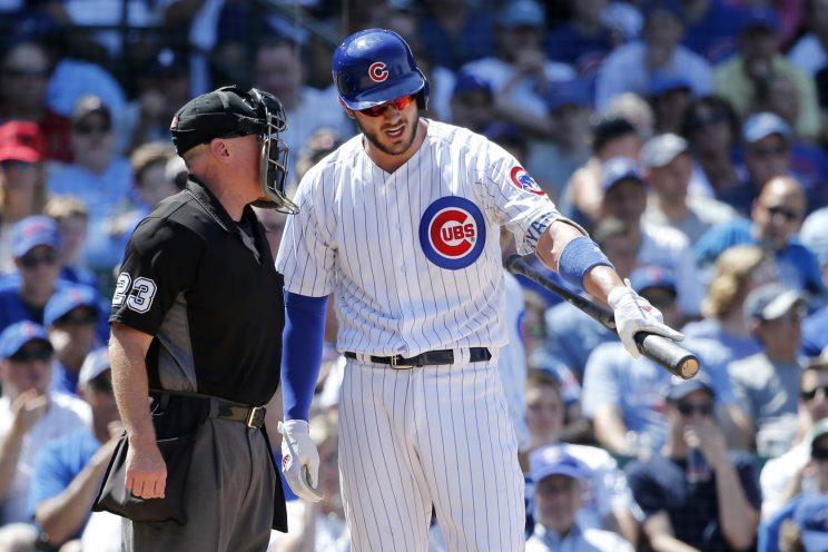 Kris Bryant received his first career ejection Tuesday. (AP Photo)