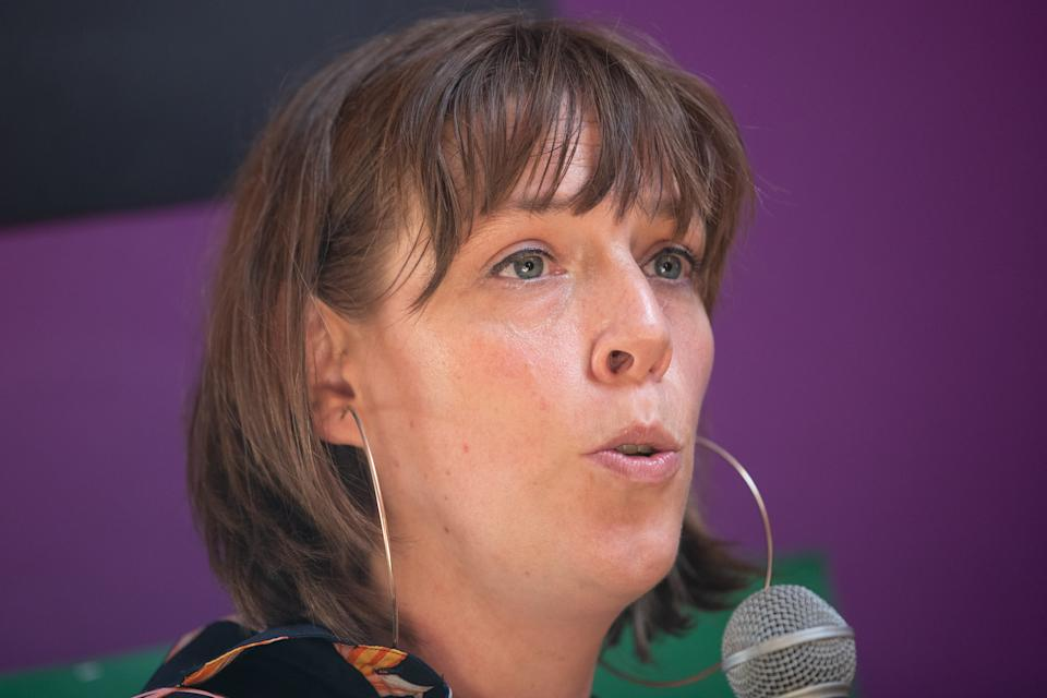 Labour MP Jess Phillips (left) talks at Our Bodies, Our Rights at Glastonbury Festival at Worthy Farm in Pilton, Somerset. (Photo by Aaron Chown/PA Images via Getty Images)