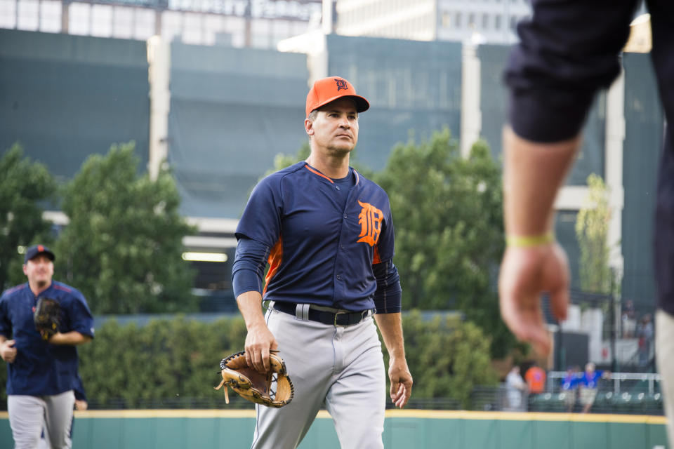 CLEVELAND, OH - SEPTEMBER 16: First base coach Omar Vizquel #13 of the Detroit Tigers walks onto the field prior to the game against the Cleveland Indians at Progressive Field on September 16, 2016 in Cleveland, Ohio. (Photo by Jason Miller/Getty Images)