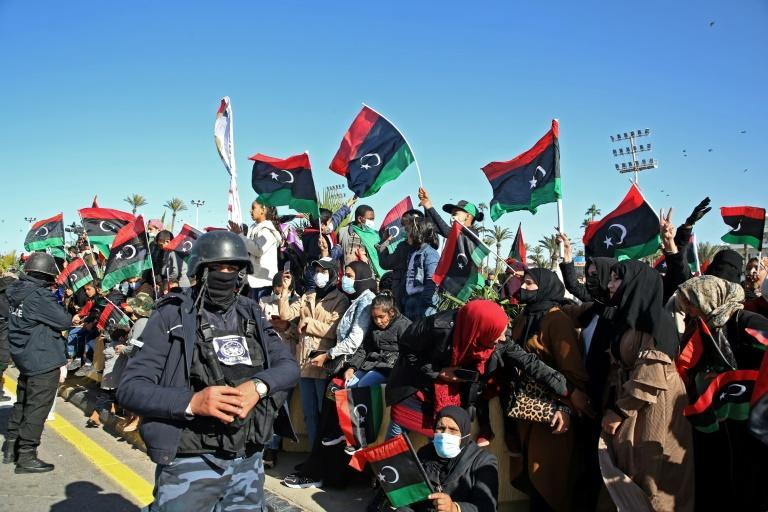 Thousands of Libyans turned out in the capital Tripoli to commemorate the 2011 uprising, despite coronavirus restrictions