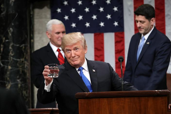 <p>Trump gestures before delivering the State of the Union address to a joint session of Congress on Jan. 30. (Photo: Win McNamee/Pool via Bloomberg) </p>