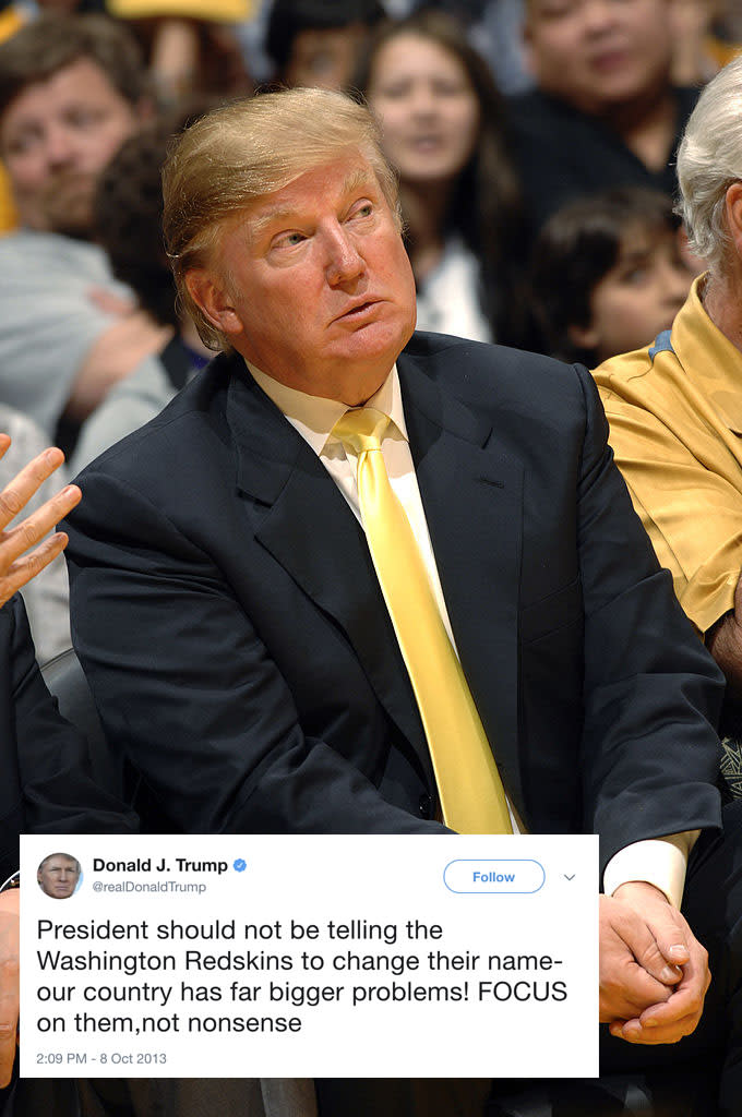 """<p>In 2013, Donald Trump lambasted Obama for saying he would change the name of the Washington Redskins over concerns it was offensive to Native Americans. When greeted with his own NFL controversy – the #takeaknee outrage – Trump blasted anthem protesters, saying: """"Wouldn't you love to see one of these <a rel=""""nofollow noopener"""" href=""""https://www.theguardian.com/sport/nfl"""" target=""""_blank"""" data-ylk=""""slk:NFL"""" class=""""link rapid-noclick-resp"""">NFL</a> owners, when somebody disrespects our flag, to say, 'Get that son of a bitch off the field right now. Out! He's fired. He's fired!'"""" </p>"""