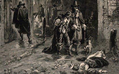 """<span class=""""caption"""">Two men discover a dead body in the street during the Great Plague of London.</span> <span class=""""attribution""""><a class=""""link rapid-noclick-resp"""" href=""""https://wellcomecollection.org/works/v5q884pm"""" rel=""""nofollow noopener"""" target=""""_blank"""" data-ylk=""""slk:19th-century wood engraving. Herbert Railton/Wellcome Collection"""">19th-century wood engraving. Herbert Railton/Wellcome Collection</a></span>"""
