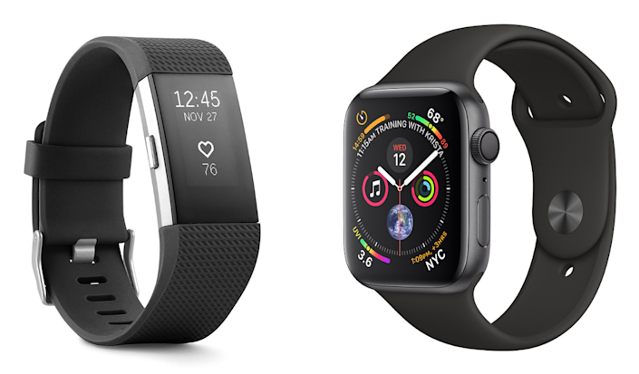 left image: fitbit charge 2. right image: apple watch series 4