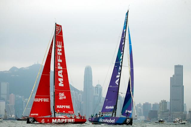 Sailing - Volvo Ocean Race - In-Port Race - Hong Kong, China - January 27, 2018. Team AkzoNobel and MAPFRE sail. REUTERS/Bobby Yip