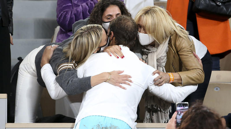Rafael Nadal, pictured here celebrating with sister Maria Isabel, wife Xisca Perello and mother Ana Maria Parera.