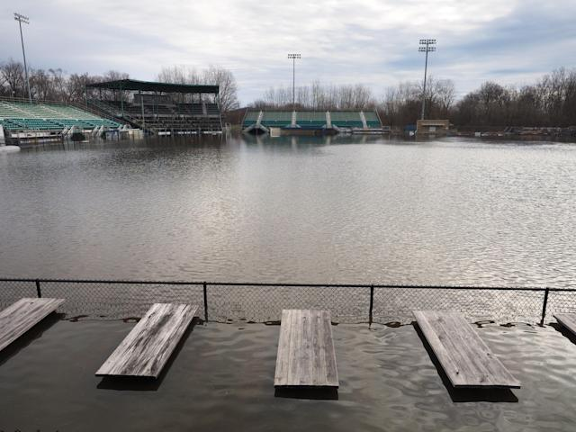 <p>The Growlers baseball field is underwater Kalamazoo Mayors' Riverfront Park Thursday, Feb. 22, 2018 in Kalamazoo, Mich. The Kalamazoo County Sheriff's Office is working to put a plan in place for the anticipated major flooding issues. (Photo: Mark Bugnaski/Kalamazoo Gazette-MLive Media Group via AP) </p>