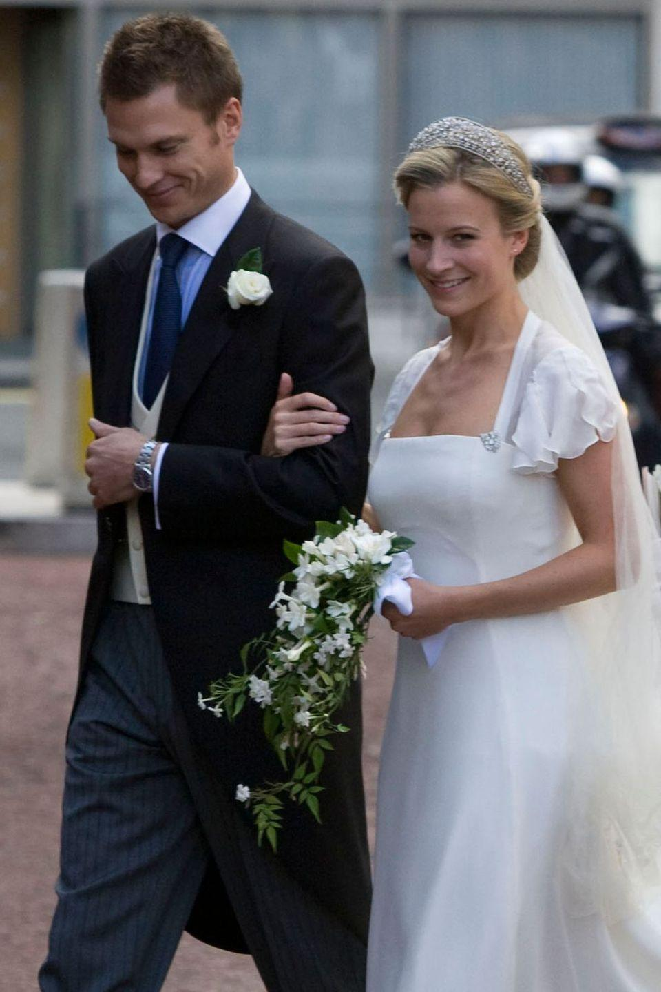 "<p><strong>Wedding date: </strong> July 19, 2008</p><p><strong>Wedding tiara: </strong>Lady Rose wore the Iveagh Tiara on her wedding day. The tiara <a href=""http://orderofsplendor.blogspot.com/2015/10/tiara-thursday-iveagh-tiara.html"" rel=""nofollow noopener"" target=""_blank"" data-ylk=""slk:was given to Queen Mary"" class=""link rapid-noclick-resp"">was given to Queen Mary</a> as a wedding gift from Lord and Lady Iveagh, also known as Edward and Adelaide Guinness, and it was eventually passed on to Lady Rose's mother, Birgitte, Duchess of Gloucester. </p>"