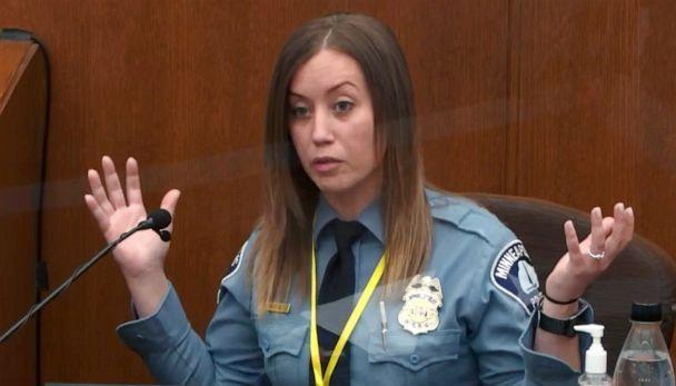 PHOTO: Minneapolis Police Officer Nicole Mackenzie testifies, April 6, 2021, in the trial of former Minneapolis police Officer Derek Chauvin at the Hennepin County Courthouse in Minneapolis. (Pool via AP)