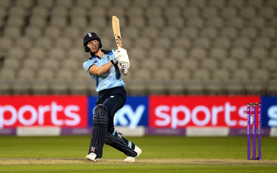 Sam Billings of England hits a six during the 1st Royal London One Day International Series match between England and Australia - GETTY IMAGES