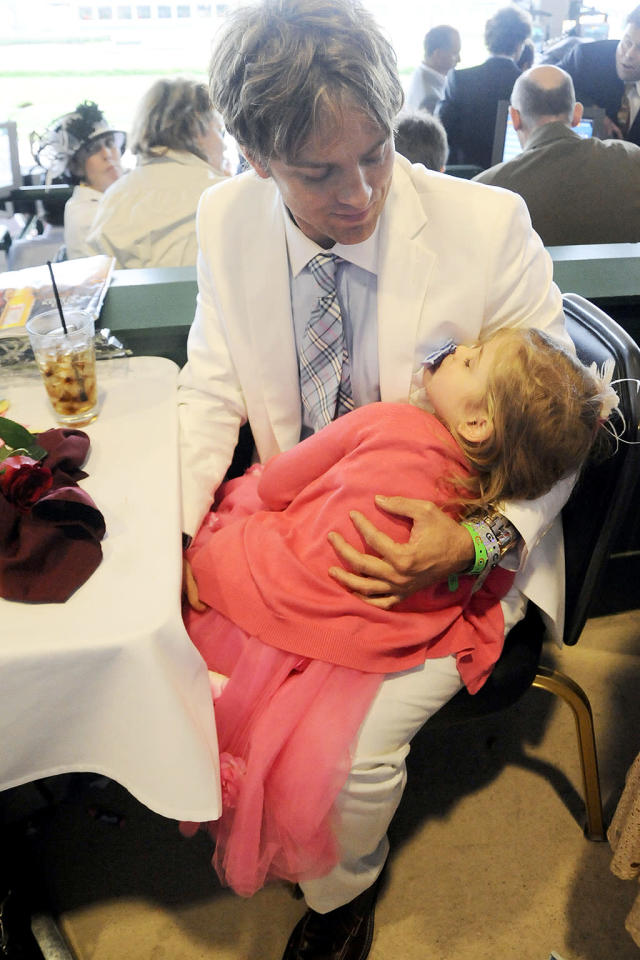 <p>Anna Nicole's daughter was so young when she first attened the derby that she needed a nap before the day was over. What a cutie! (Photo: Jeff Gentner/Getty Images) </p>