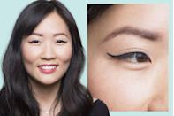"""<p>If you have a very minimal or nonexistent crease, you likely have eyes with <strong>monolids</strong>. A thin winged look is ideal.</p><p>To get the look, Lavonne recommends using a <a href=""""https://www.goodhousekeeping.com/beauty-products/eyeliner-reviews/g5007/best-liquid-eyeliner/"""" rel=""""nofollow noopener"""" target=""""_blank"""" data-ylk=""""slk:liquid liner"""" class=""""link rapid-noclick-resp"""">liquid liner</a>. You don't have much space with a monolid, so you want to maximize it by making sure the liner is crisp and straight. For the thinnest line possible, place the tip of the eyeliner on the lash line at the pupil, then draw to the outer corner. Then, start from the inner corner and draw it to meet the middle point.</p>"""