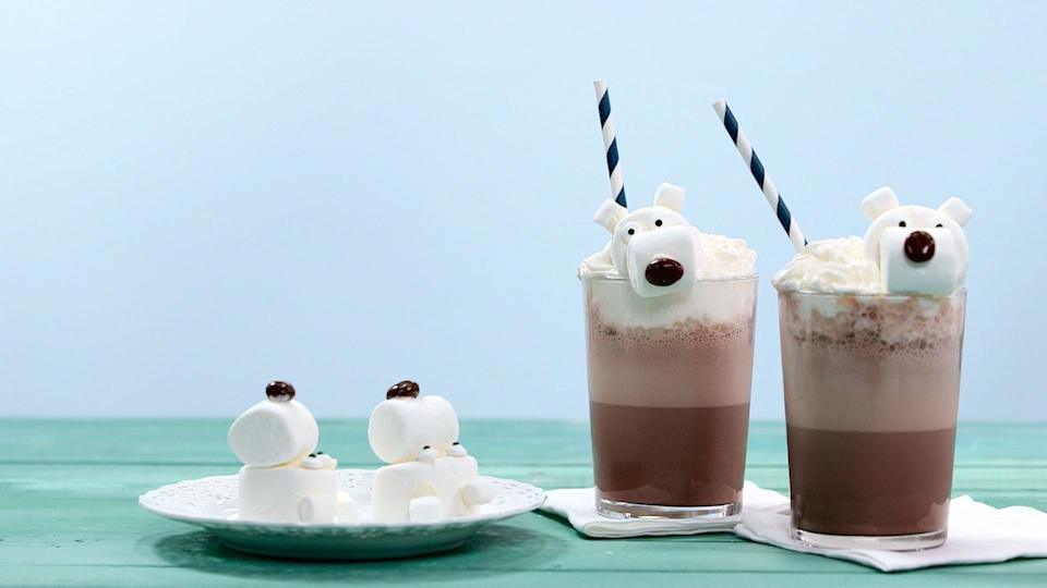 "<p><strong>Recipe: <a href=""https://www.southernliving.com/recipes/polar-bear-frozen-hot-chocolate"" rel=""nofollow noopener"" target=""_blank"" data-ylk=""slk:Polar Bear Frozen Hot Chocolate"" class=""link rapid-noclick-resp"">Polar Bear Frozen Hot Chocolate</a></strong></p> <p>Enjoy hot chocolate taste all year long with this chilly frozen version that's topped with fun polar bear marshmallows.</p>"